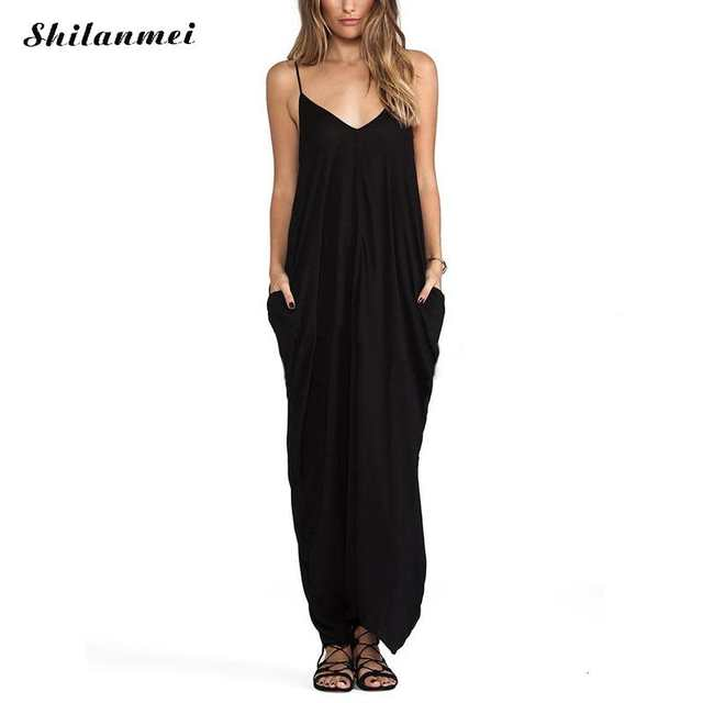 New-Style-Halter-Long-Maxi-Dress-Woman-Summer-Black-Chiffon-Dresses 2020-Summer-Black-Dresses-Big-Size-Long-Maxi-Dress-Women-Sleeveless-Casual-Strap-Pockets-Boho-Beach