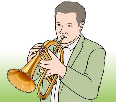 フリューゲルホーンを演奏している男性の図