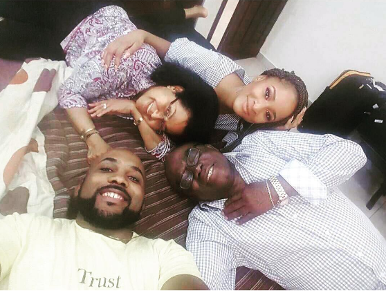 Beautiful photo of Banky W, his parents and wife-to-be, Adesua Etomi