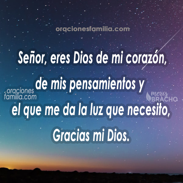 imagen con oracion de la noche para agradecer a Dios gracias Señor