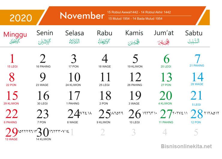 kalender 2020 november