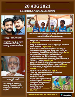 Daily Malayalam Current Affairs 20 Aug 2021