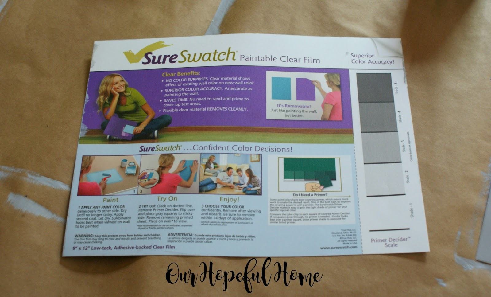 Sure Swatch Paintable Clear Film For Testing Paint Colors