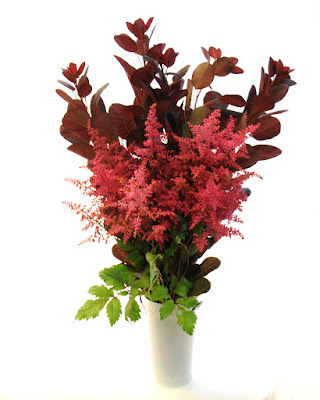 red astilbe and cotinus bouquet