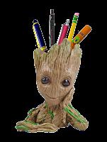 Unique Shape Marvel Avengers Infinity War Pot Groot Wooden Look Tree Flowerpot Cum Pen Container- Tree Man