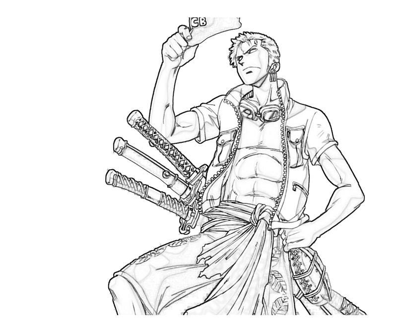 One piece roronoa zoro sword mario for Zoro coloring pages