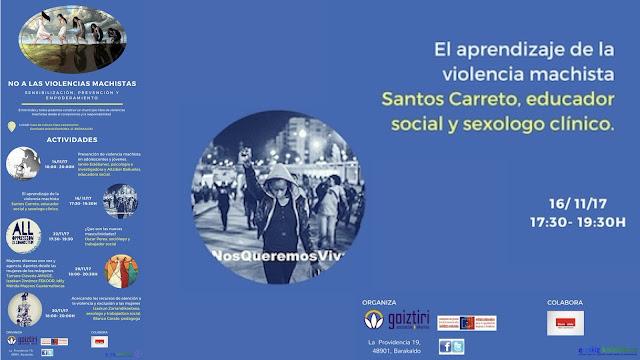 Cartel de la charla sobre violencia machista