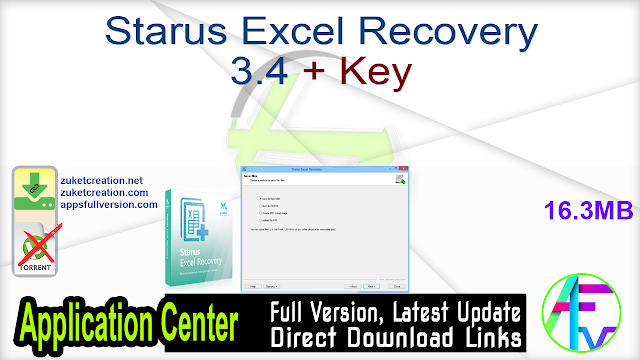 Starus Excel Recovery 3.4 + Key