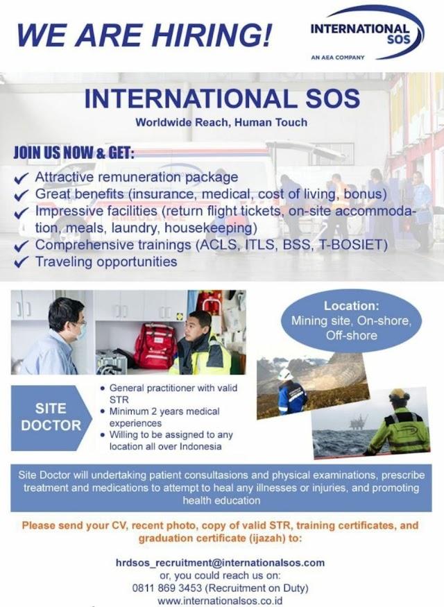 Loker Dokter Internasional SOS Lokasi Mining Site, On-shore, Off-shore