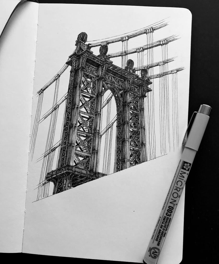 08-Manhattan-Bridge-Mariusz-Uryszek-Ink-Architectural-Urban-Sketches-www-designstack-co