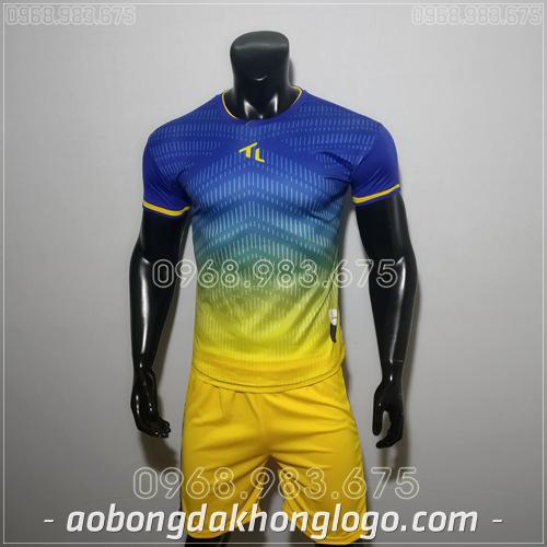 Áo bóng đá ko logo Rius màu xanh dương