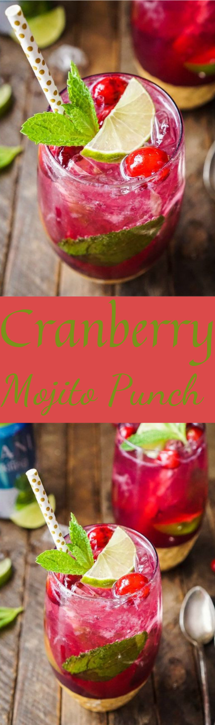 Cranberry Mojito Punch #drink #ice