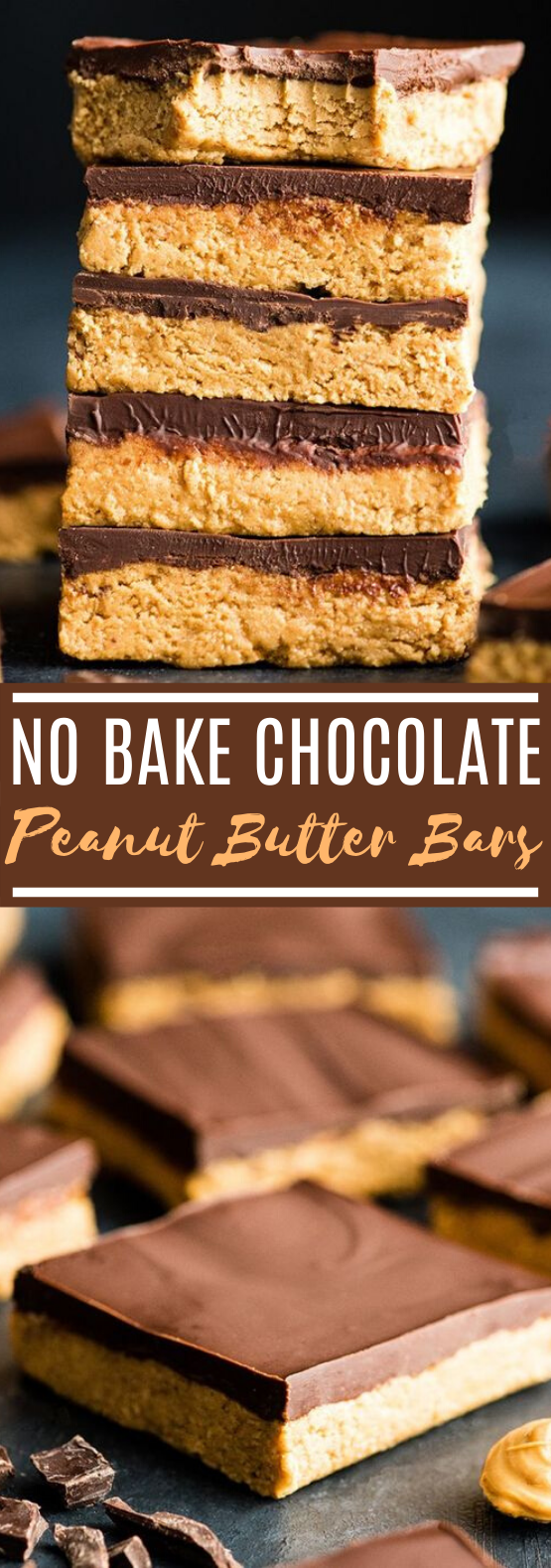 Easy No Bake Peanut Butter Bars #desserts #chocolate #bars #peanutbutter #nobake