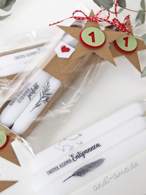 Kerzen bestempeln mit kleiner Verpackung Adventskalender