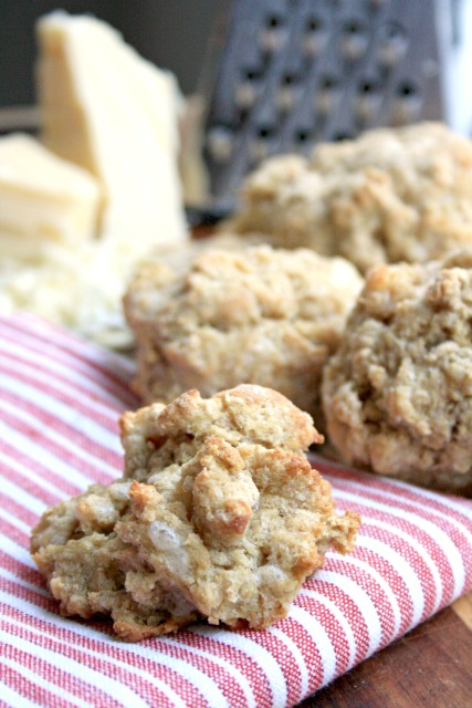 Stone ground whole white flour & sharp cheddar give these cheese drop biscuits extra flavour.