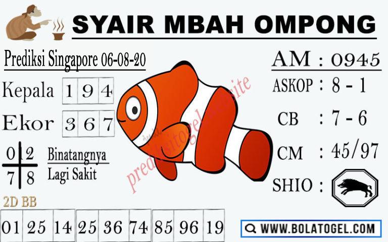 syair sgp mbah ompong 6 agustus 2020