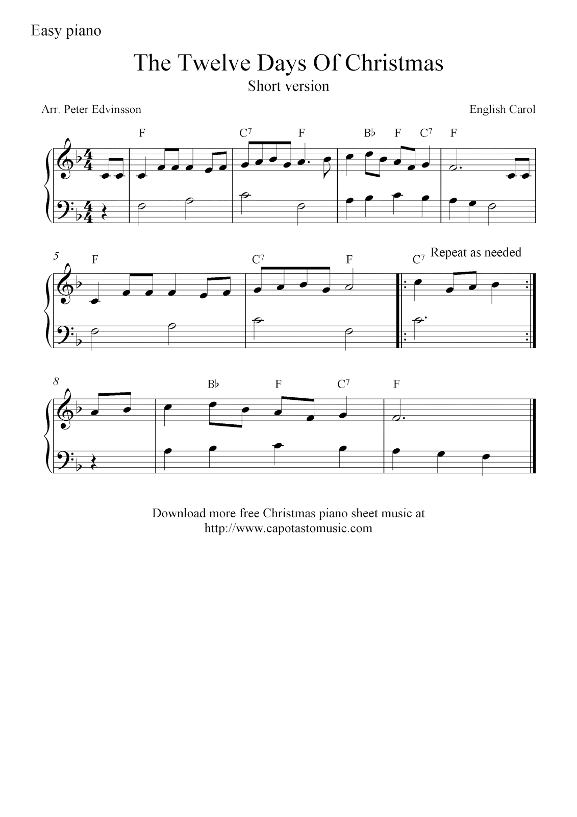 Very Easy Piano Christmas Sheet Music Free