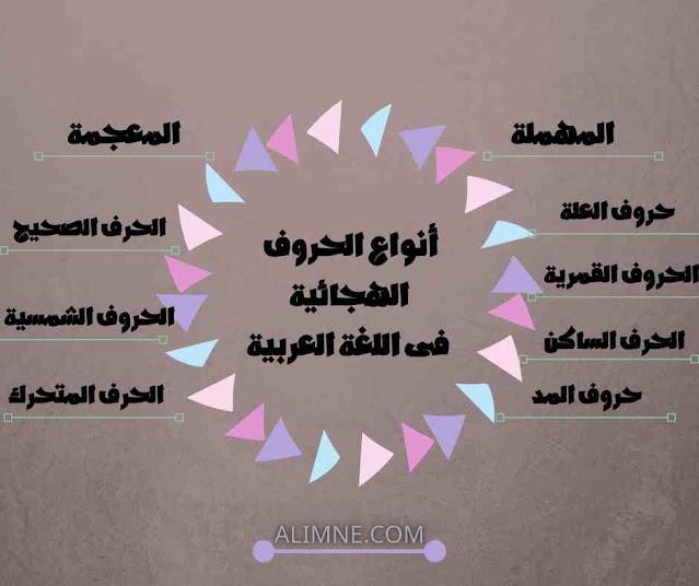أنواع الحروف الهجائية فى اللغة العربية