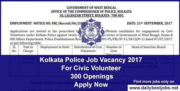 Kolkata Police Job Recruitment 2017-18
