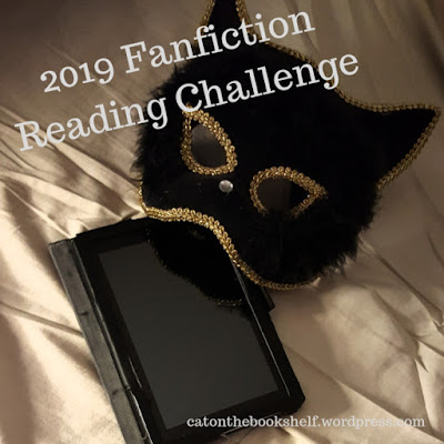 2019 Fanfiction Reading Challenge title image w/ eReader and cat mask - catonthebookshelf.wordpress.com