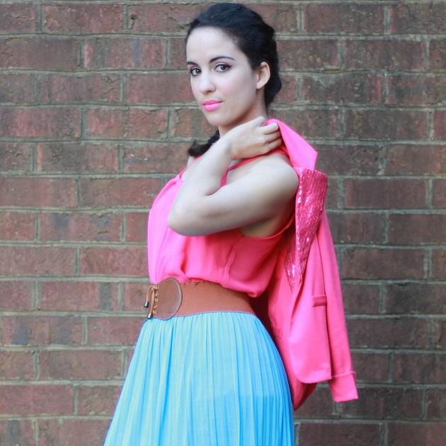 Pink Sequin Collar Jacket