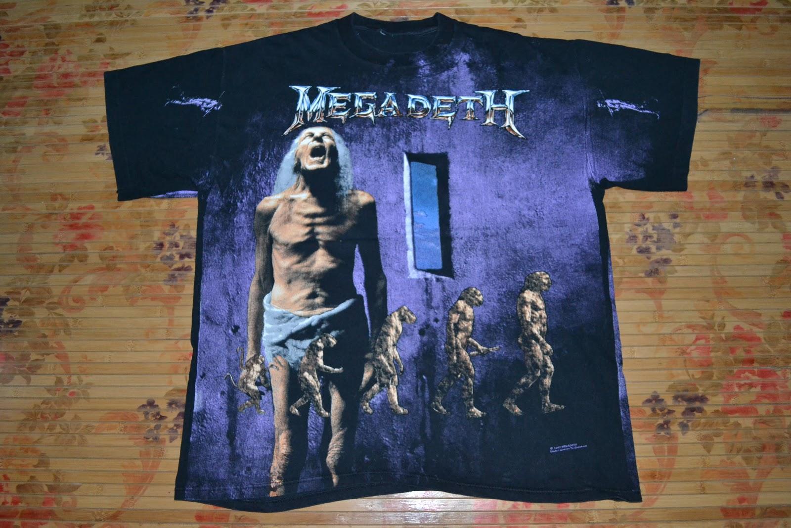 1ac3535e0 OldSchoolZone: Vintage 1992 MEGADETH band full print T-shirt