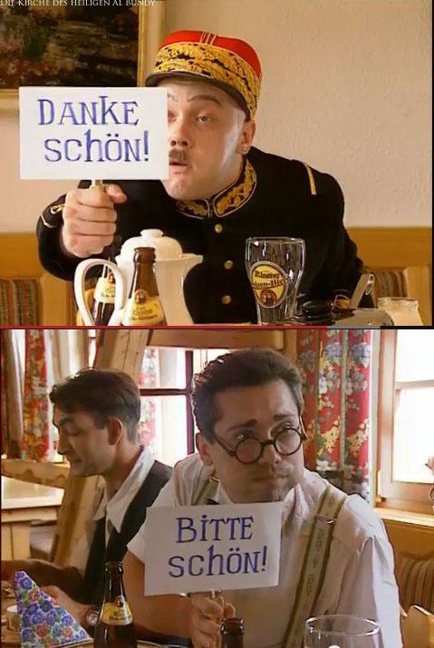 Witziges Bild - Dankeschön Bitteschön sagen - Männer mit Schildern