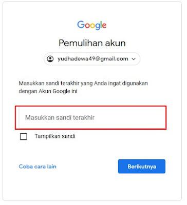 Sandi Terakhir - Lupa Password Gmail
