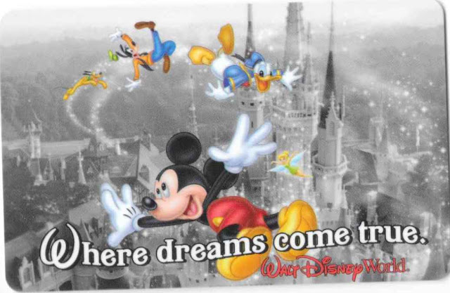 Where Dreams Come True Mickey and Friends Walt Disney World Ticket Card