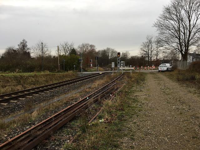 Links liegt das Hauptgleis, rechts daneben das alte Abstellgleis mit den abgelegten alten Schienen. die Andreaskreuze und die Bahnsignale sind zu sehen und der weiße Prellbock mit schwarz-weißen Signaltafeln. Zwei Autos sind an einem grauen Maschendrahtzaun abgestellt. Alle Büsche und Bäume im Hintergrund sind braun bis auf einen Busch. Der Himmel ist trüb grau.