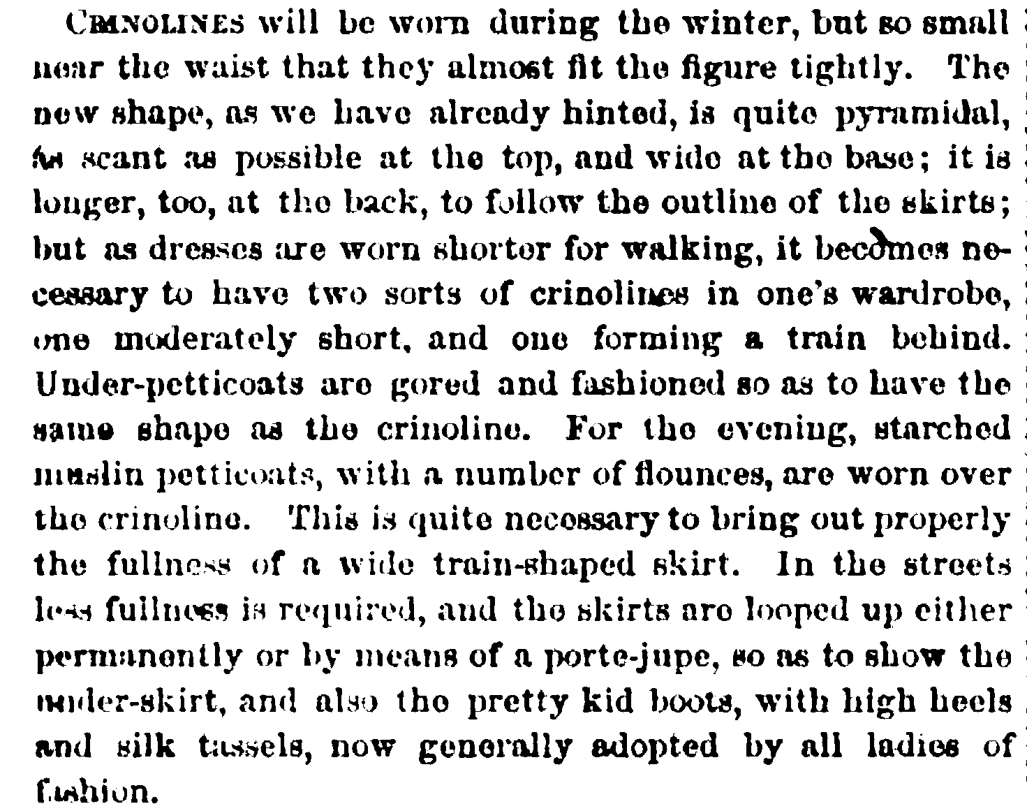 Crinoline description from Peterson's, February 1865.
