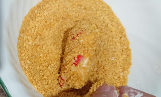 peppers coating with gluten free bread crumbs