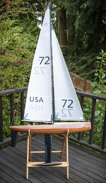 Vickers V8 IOM wood RC sailboat