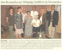 Judith van den Eynde, gevierd als 106-jarige in het bijzijn van sympathisanten
