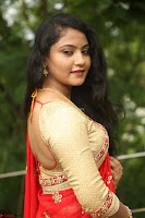 Akshara in Red Saree Golden Choli at LV Movie Makers Production No 1 Movie Opening ~  Exclusive 110.JPG