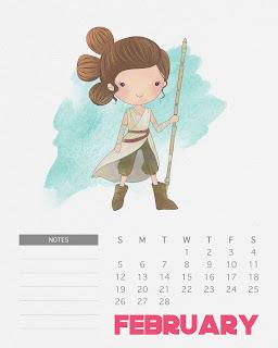 Calendario 2017 de Star Wars para Imprimir Gratis Febrero.