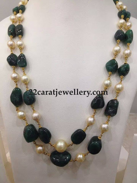Emerald Drops South Pearls Necklace