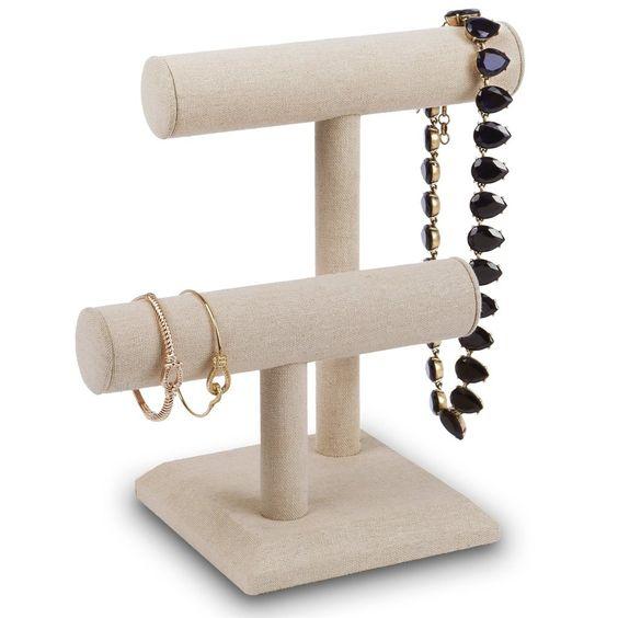 #218-1A-LNT Necklace Bracelet Display Stand, Tan Linen