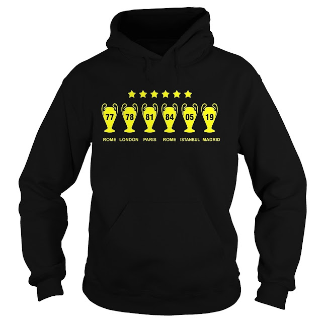 Liverpool win 6 champions league Never Give Up Hoodie, Liverpool win 6 champions league Never Give Up  T Shirts