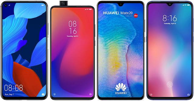 Huawei Nova 5T vs Xiaomi Mi 9T Pro vs Huawei Mate 20 vs Xiaomi Mi 9