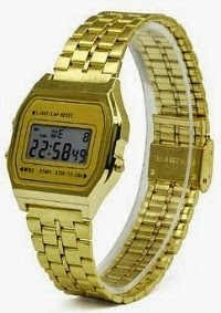 80s LCD gold digital watch