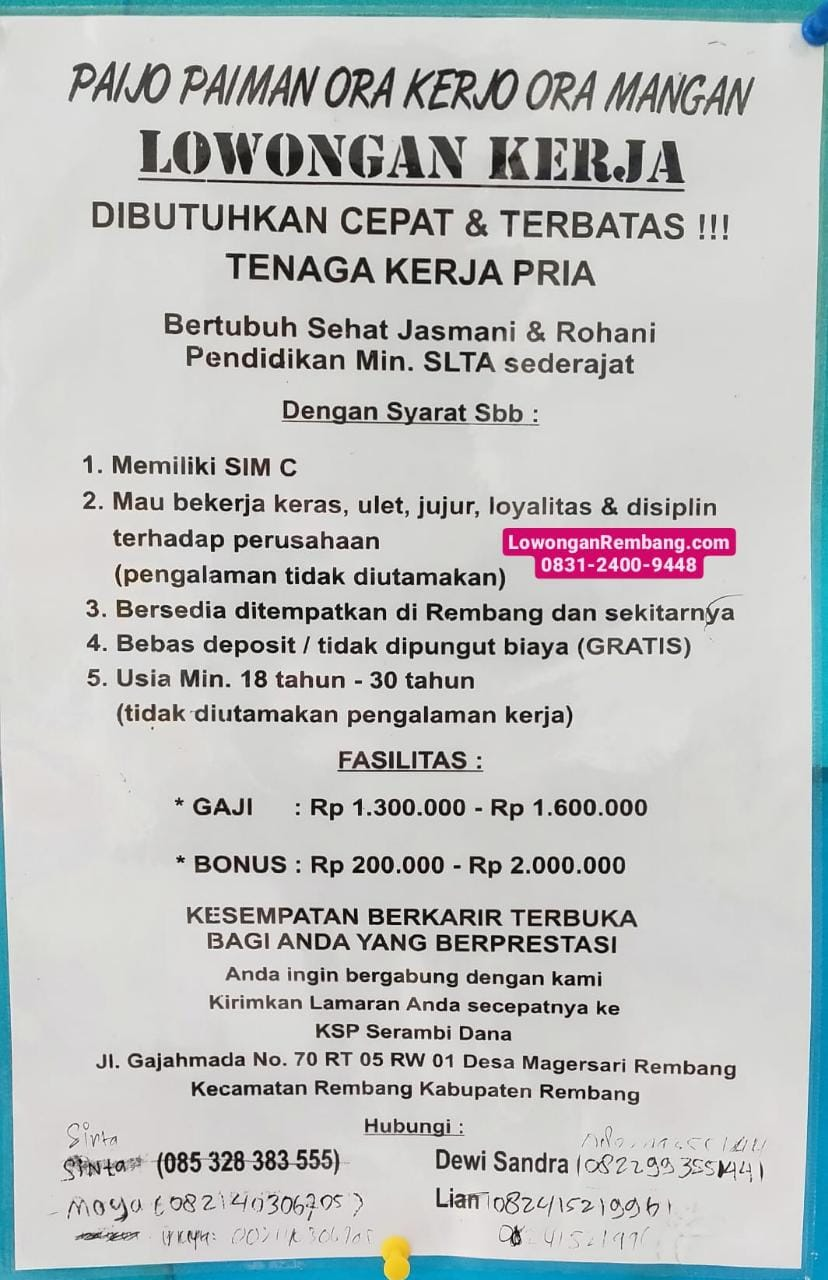 GRATIS Tanpa Jaminan Lowongan Kerja KSP Serambi Dana Bisa Dapat Gaji 1,6 Juta Bonus 2 Juta Pengalaman Tidak Diutamakan