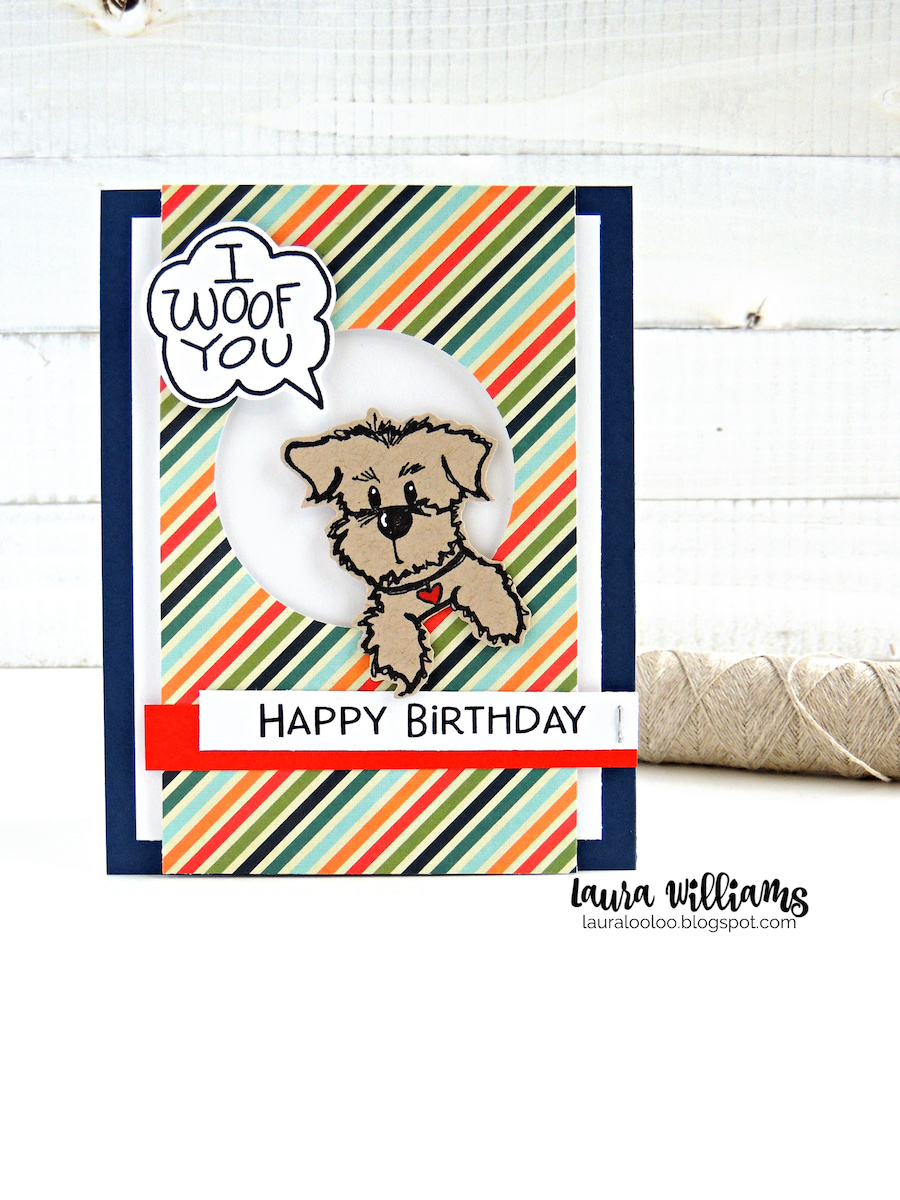 I Woof You! Happy Birthday! Check out this cute handmade birthday card with a dog peeking through the die cut circle! And that sentiment? Adorable! Visit my blog to see more dog themed handmade card ideas with rubber stamps from Impression Obsession.