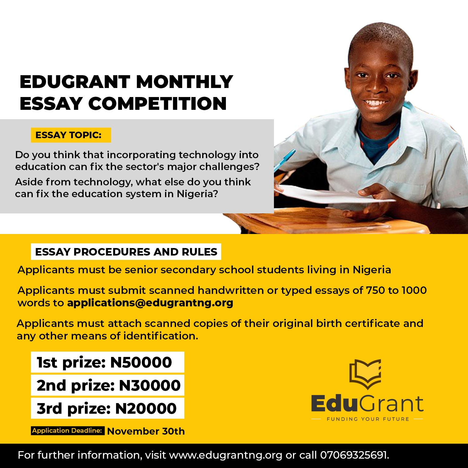 EduGrant Essay Competition 2020 [SS 1 - SS 3] | Worth N100k