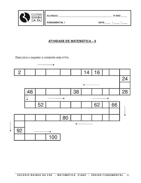 atividades matematica 2o ano para imprimir