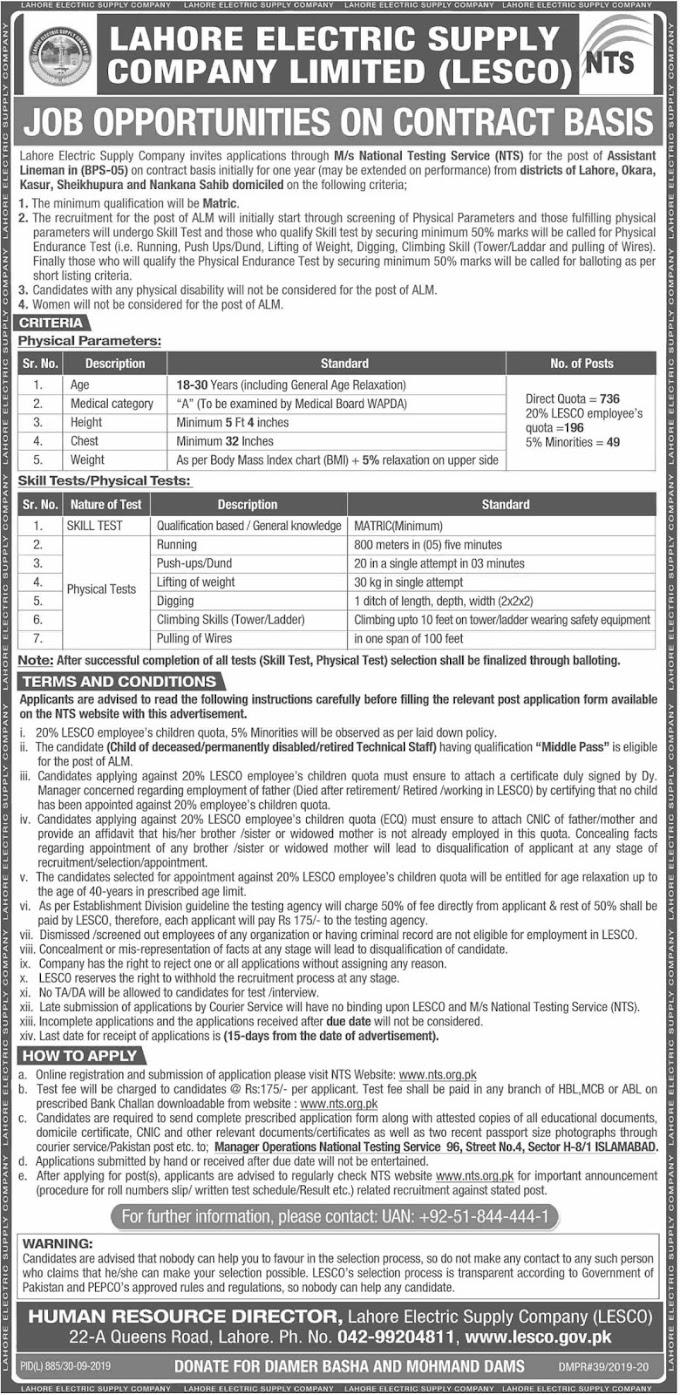 Lahore Electric Supply Company LESCO Jobs 2019