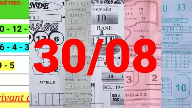 Pronostics quinté+ pmu Lundi Paris-Turf-100 % 30/08/2021