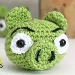 Cerdito Angry Birds a Crochet