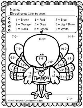Thanksgiving Color By Number Subtraction Worksheet Freebie