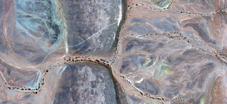 Step, border, however, the bridge, the Silk Road, the afterlife, the other side of the river, photo of abstract landscapes of deserts of Africa from the air